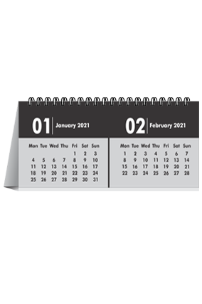 Black and White Desk Photo Calendar(11 x 4 Inches) - 6 Leaves
