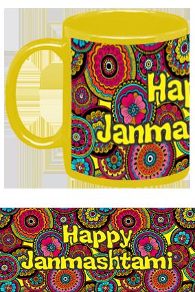 Happy Janmashtami Colourful Yellow Patch Mug