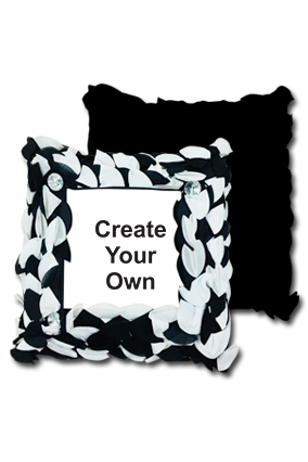 Create Your Own Polyester Square Black & White Petal Cushion