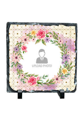 Floral Round Frame Square Photo Rock