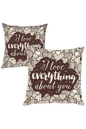 Love Everything About You Printed Cushion Cover