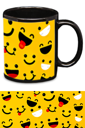 Laughing Smiles Printed Black Patch Mug