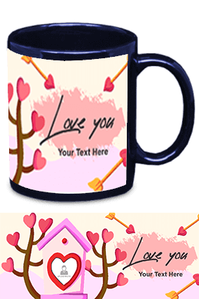 Love You Blue Patch Mug