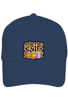 Bucket With Colors Personalilzed Holi Cotton Blue Cap
