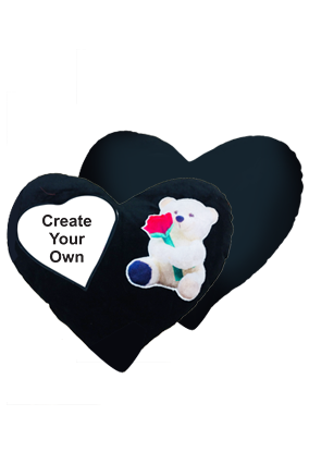 Create Your Own Velvet Heart Shape Black Teddy Bear Cushion