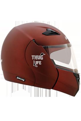 Thug Life Vega Boolean Dull Burgundy Helmet