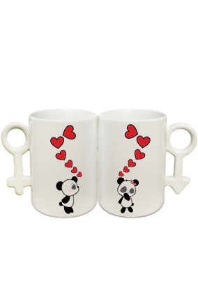 Panda Hearts Couple Coffee Mugs