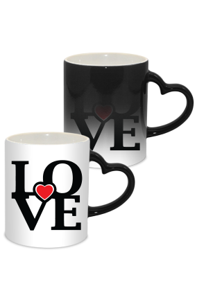 Both Love Valentine Day Heart Handle Black Magic Mug