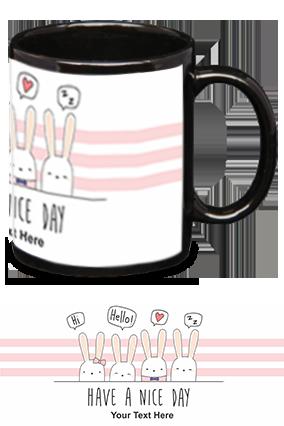 Have A Nice day Personalized Kids Designer Black Patch Mug