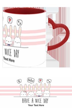Have A Nice day Personalized Kids Designer Heart Handle Inside Maroon Redis Mug