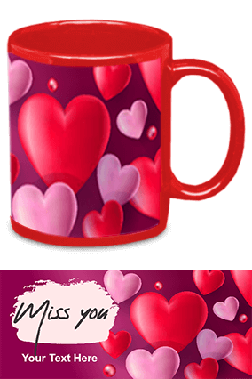Miss You Red Patch Mug