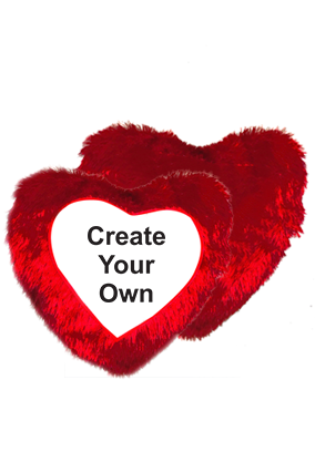Create Your Own Fur Heart Shape Red Cushion