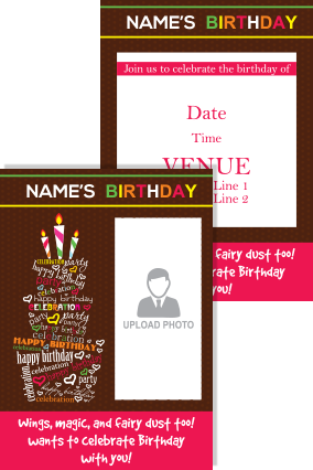 Customized Cake Birthday Invitation Card