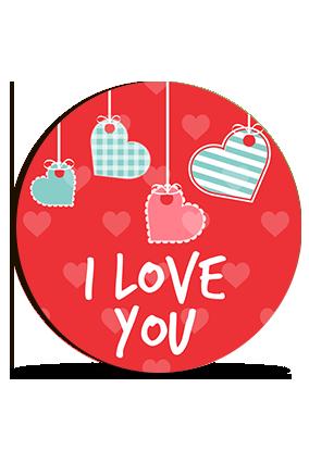 Hanging Hearts Valentine Round Photo Magnet