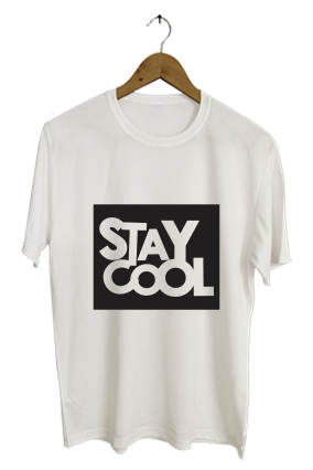 Stay Cool Designer Personalized Round Neck Dri-fit White T-shirt