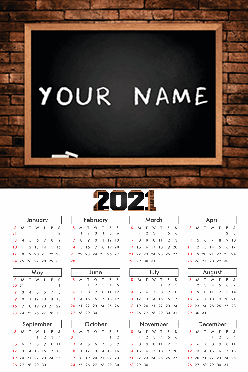 Custom Chalk Poster Name In Image Calendar (12x18 Inches)
