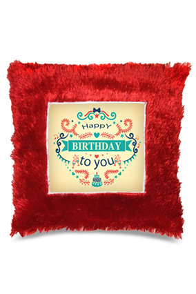 Birthday Wishes  Square Fur Cushion