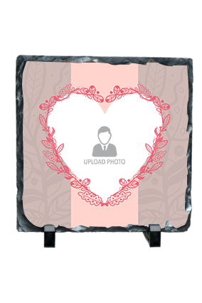 Decorative Pink Heart Frame Square Photo Rock