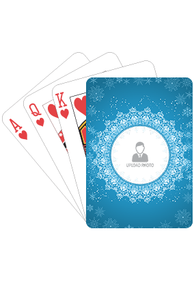 Snowflakes on Blue Playing Cards