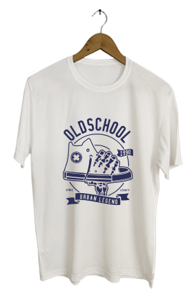Old School Personalized  Round Neck Dri-fit White T-shirt