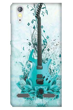 Transparent Silicon - Blue Guitar Lenovo A6000 Mobile Cover