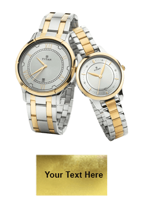 Titan Bimetal Gold Date Function Wrist Watch