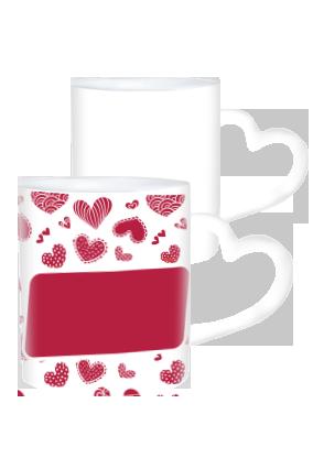 Customized  Valentine Day Heart Handle White Coffee Mug