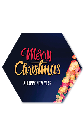 Colorful String Lights Merry Christmas and New Year Hexa Coaster