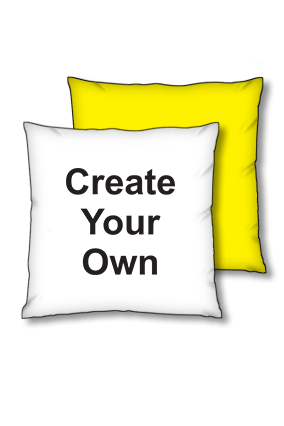 Create Your Own Polyester Square Yellow With Black Piping Cushion