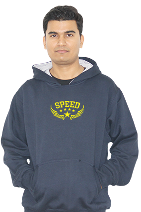 Custom Speed Themed Full Sleeves Navy Blue Hoodie