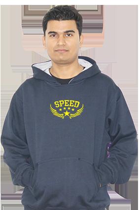 Custom Speed Themed Full Sleeves Navy Blue Hoodie