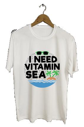 I Need Vitamin Sea Trendy Round Neck Dri-fit White T-shirt