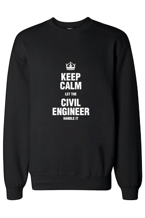 Civil Engineer White Print Black Sweatshirt