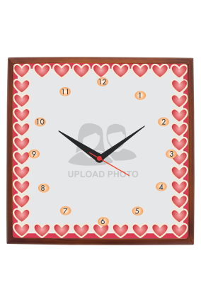 Pink Hearts Square Wooden Wall Clock