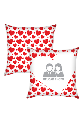 Red Hearts Cushion Cover