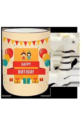 Birthday Zebra Handle Mug