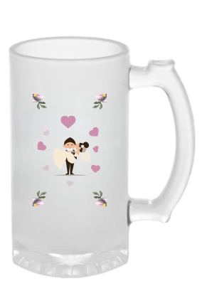Premium Just Married Frosted Beer Mug