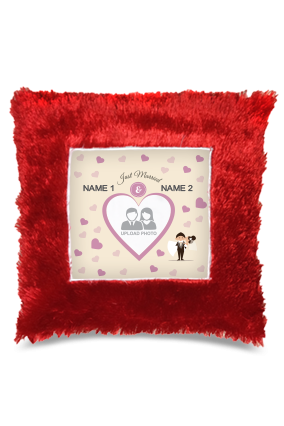 Just Married Square Fur Cushion