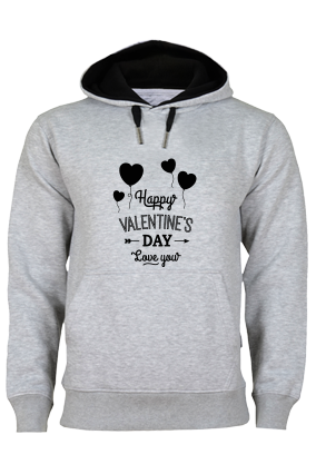 Happy Valentine's Day Black Print Gray Hoodie
