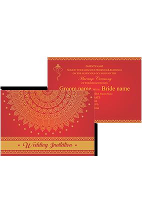 Crimson and Gold Landscape Wedding Invitation Card