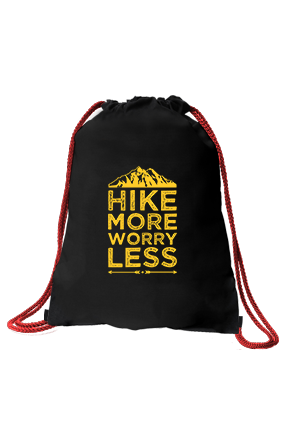 Hike More Worry Less Printed Black Sack Bag