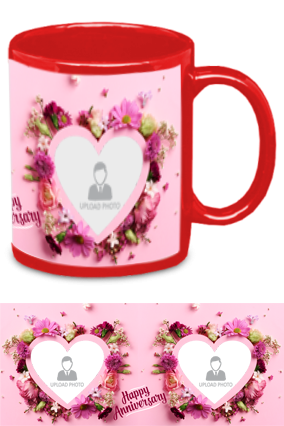 Beautiful Hearts Personalized Anniversary Red Patch Mug