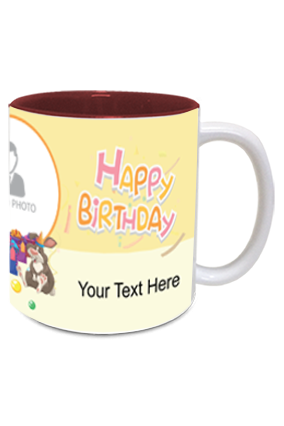 Cute Panda personalized Birthday Inside Maroon Mug