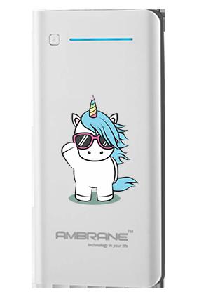 Unicorn with Glasses Customized 20800mAh Ambrane Power Bank White