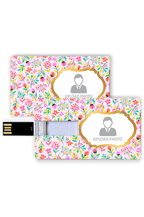 Colorful Flowers Personalized Plastic Credit Card Pen Drive