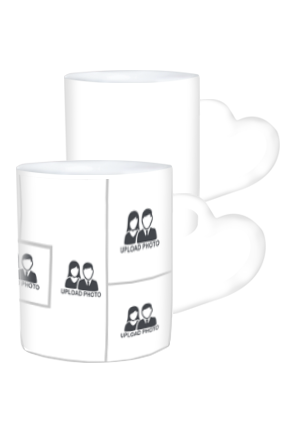 7 Photos Heart Handle White Coffee Mug