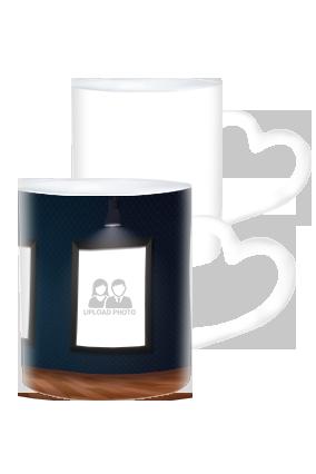 Personalized 3 Photos Heart Handle White Coffee Mug