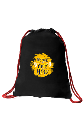 Be Your Own Hero Premium Black Sack Bag