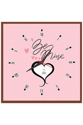 Be Mine Personalized Square Valentine Clock