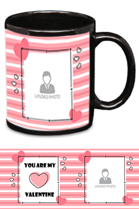 You Are My Valentine Black Patch Mug